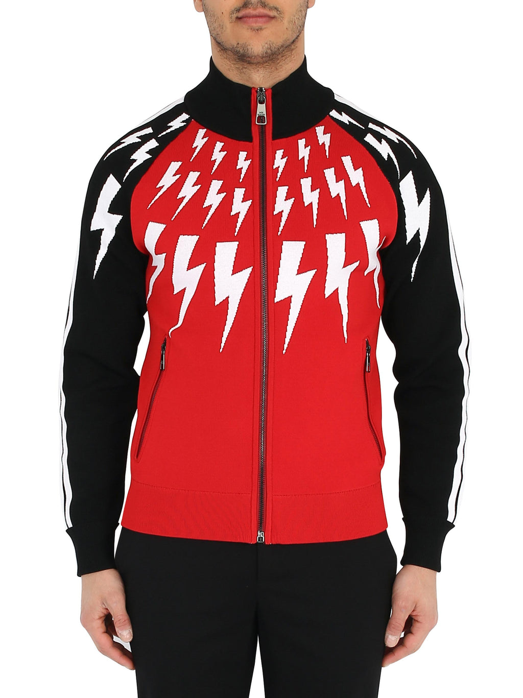 NEIL BARRETT Full zip sweater with Thunderbolt jaquard design
