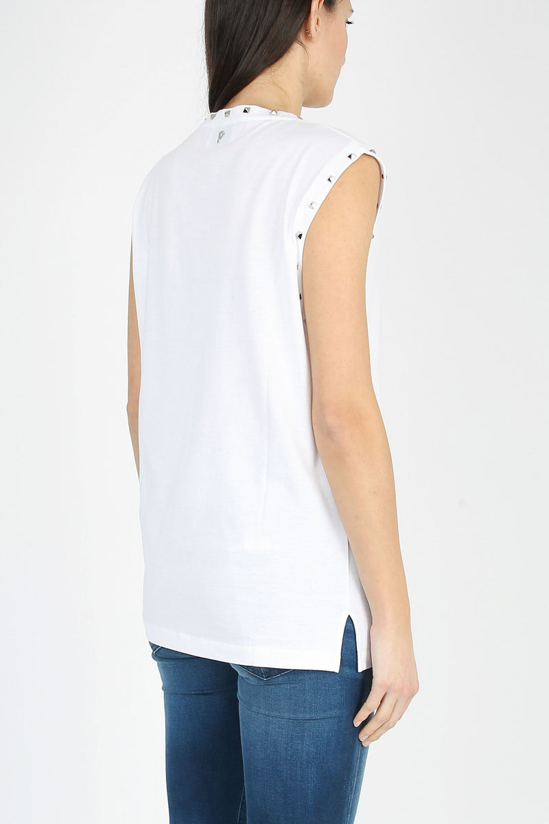 DONDUP V-neck T-shirt with applications