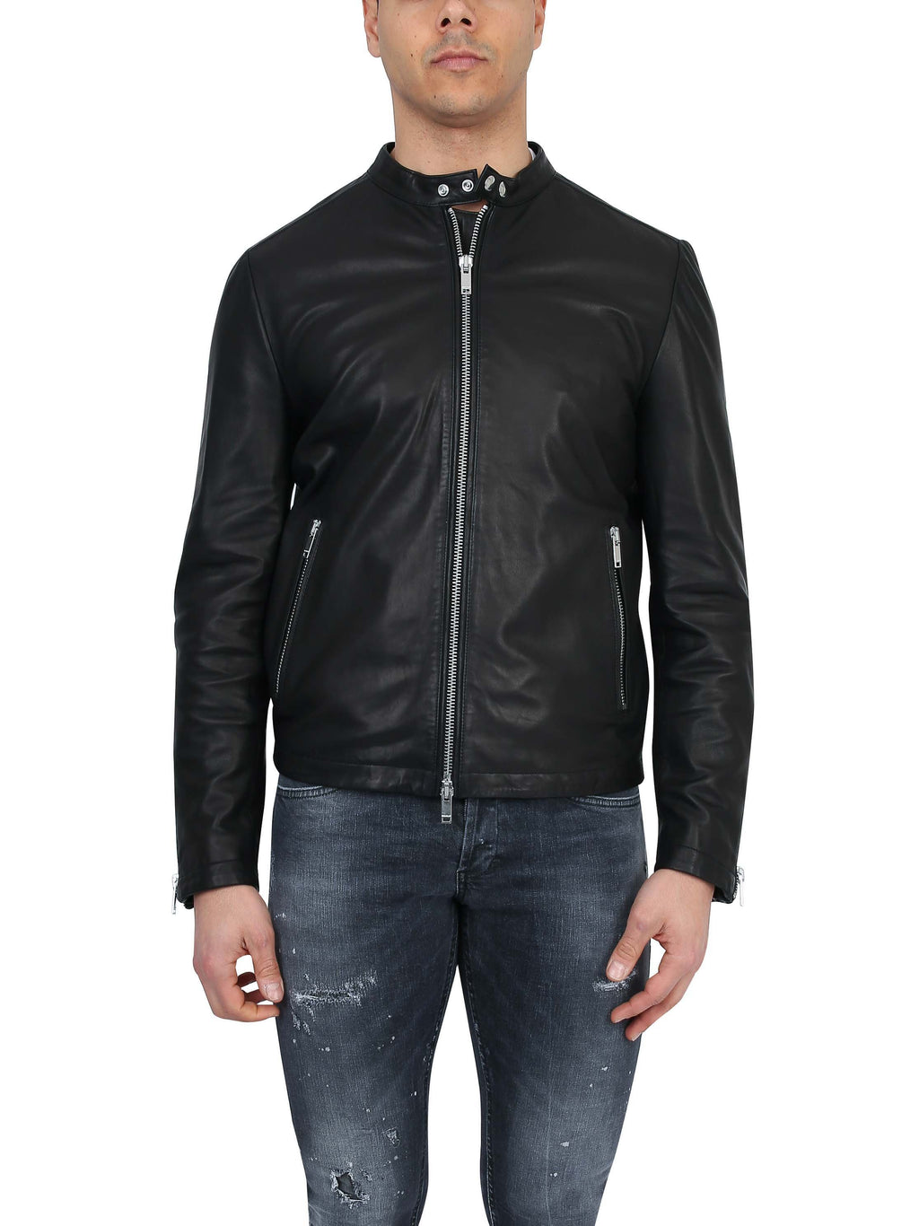 DONDUP Leather biker with zip