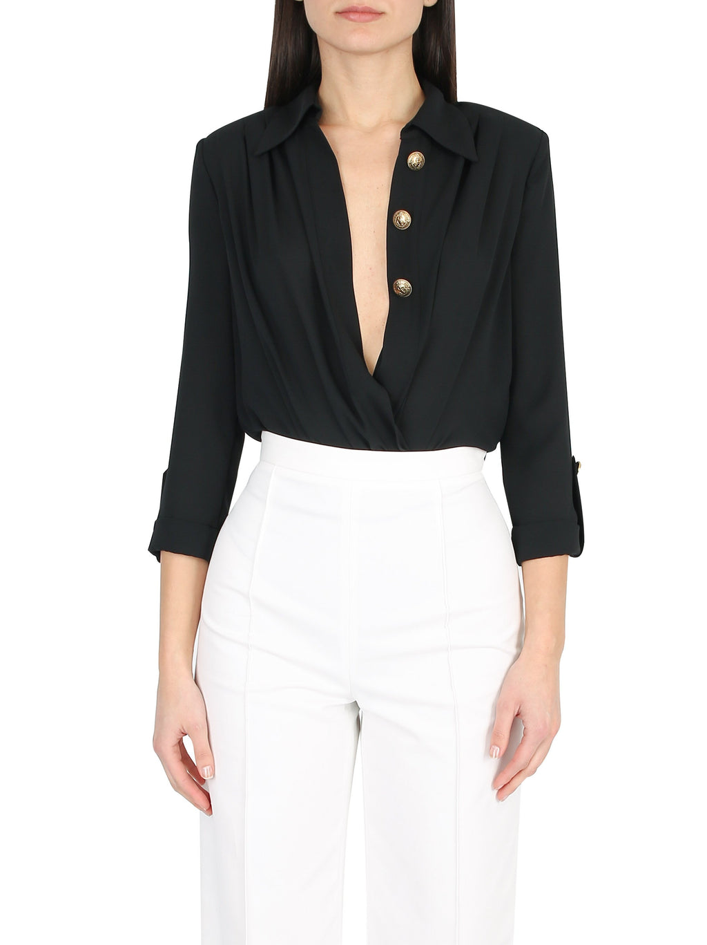 Wrap front body shirt with gold buttons