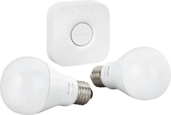 A19 Hue 9.5W White Dimmable Smart Wireless Lighting Starter Kit (2 Pack) image 4829479141423