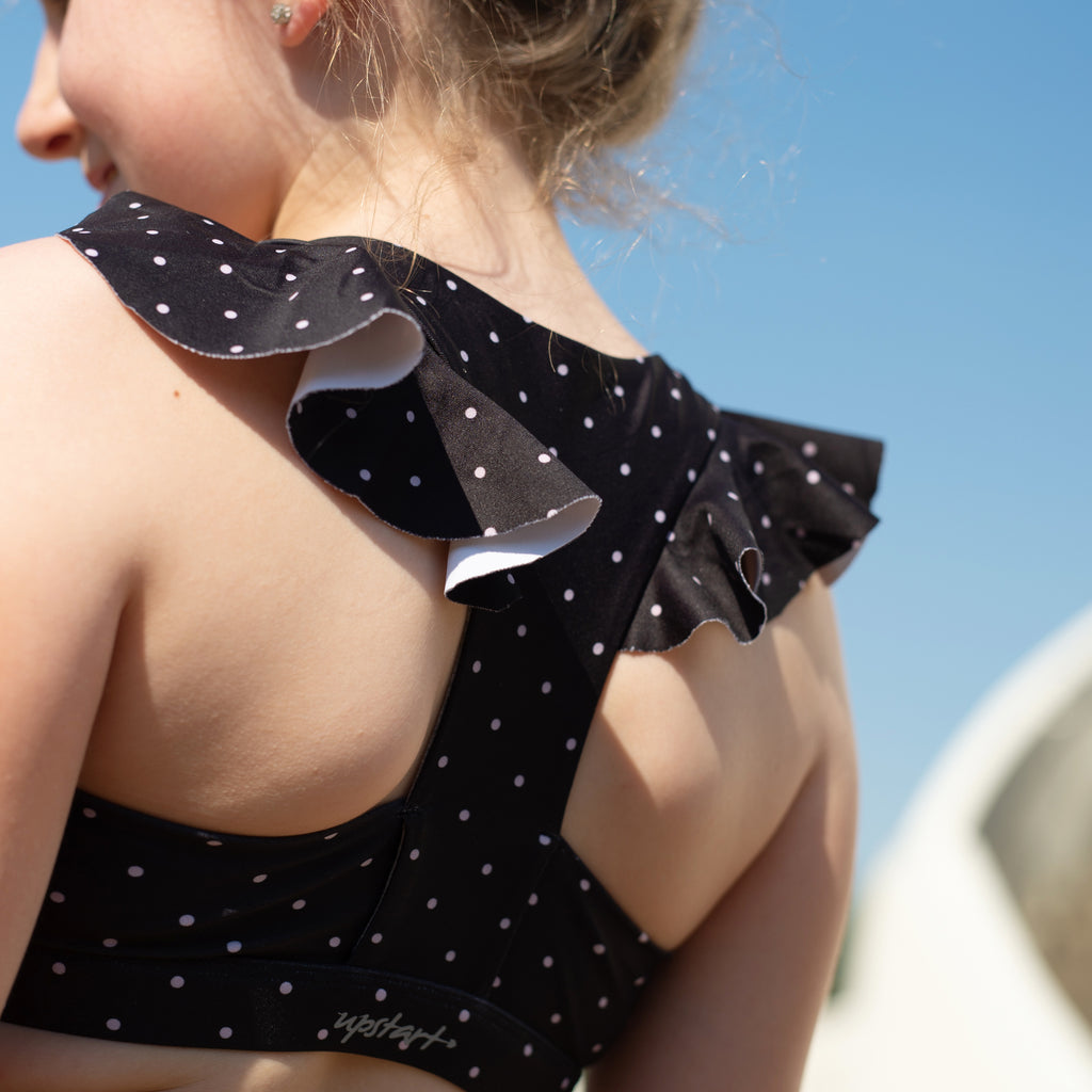 Ruffle Crop - Black/Mauve Dot
