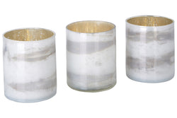 Marble effect glass candle holders