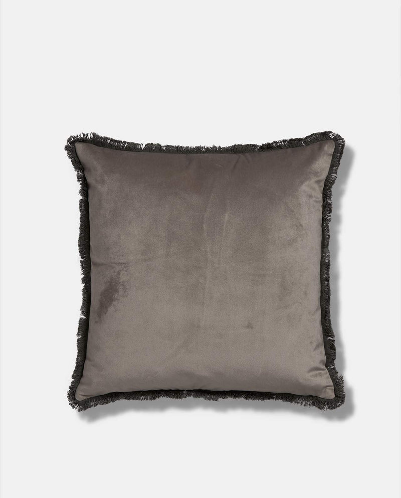 Grey Velvet Tassel Cushion