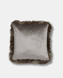 Silver Velvet Cushion with Faux Fur Trim