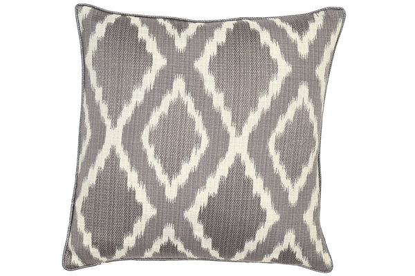 Grey Cushion with a geometric pattern on front and back.