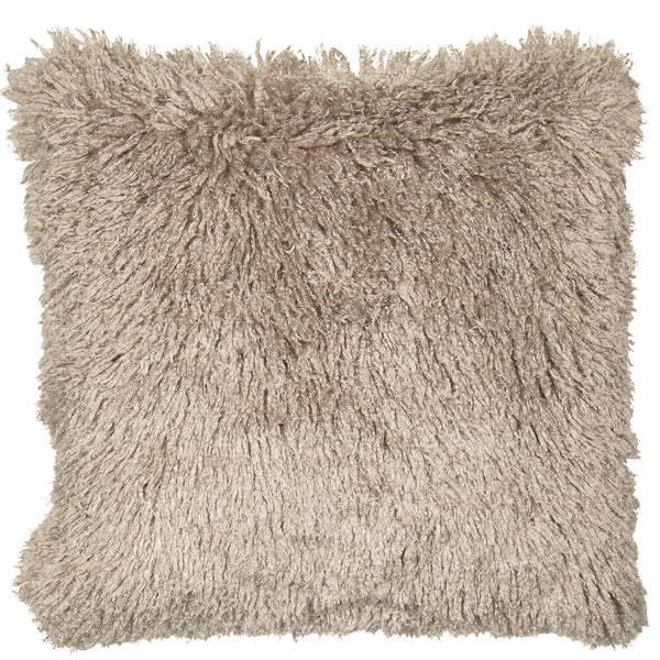 Stone coloured shaggy cushion