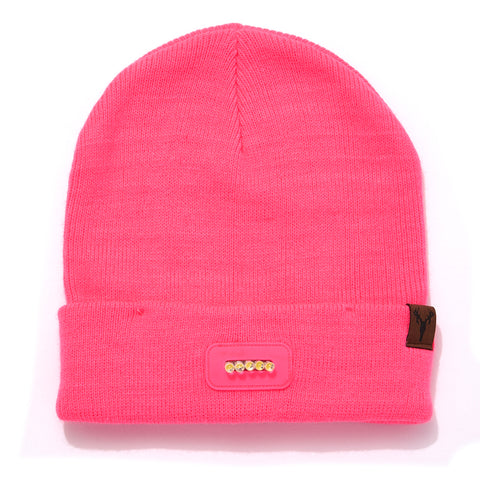 """Bolt"" Ladies' Lighted Knit Beanie - PINK"