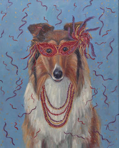 """Mardi Gras Mutts: Collie"" Print"
