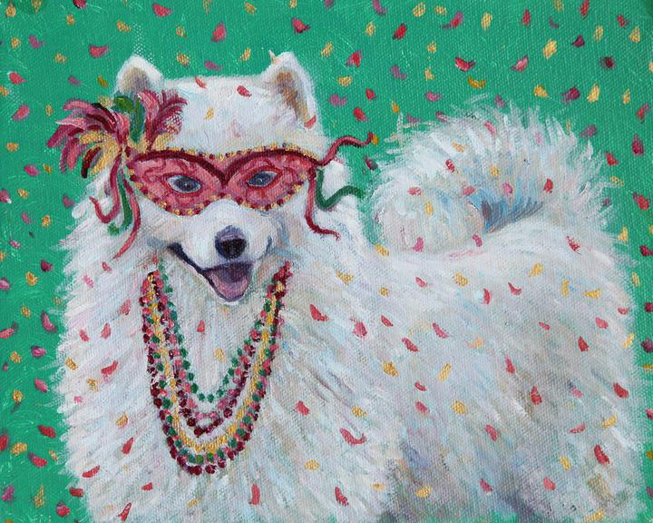 Mardi Gras Mutts: Samoyed