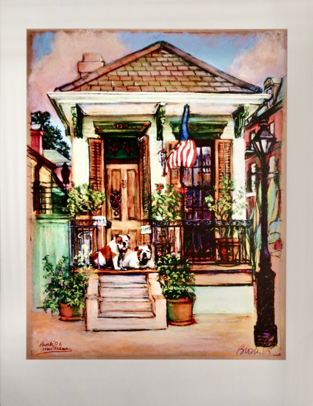 Bulldogs On A Porch Poster