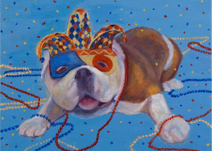 """Mardi Gras Mutts: English Bulldog"" Print"