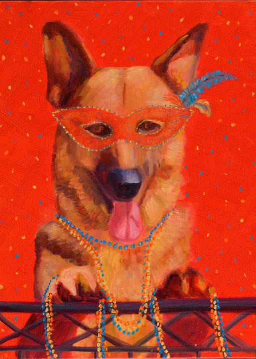 """Mardi Gras Mutts: German Shepherd"" Print"