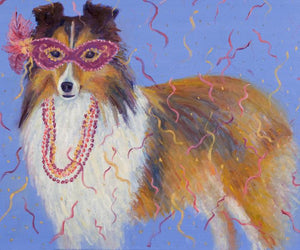 """Mardi Gras Mutts: Sheltie"" Print"