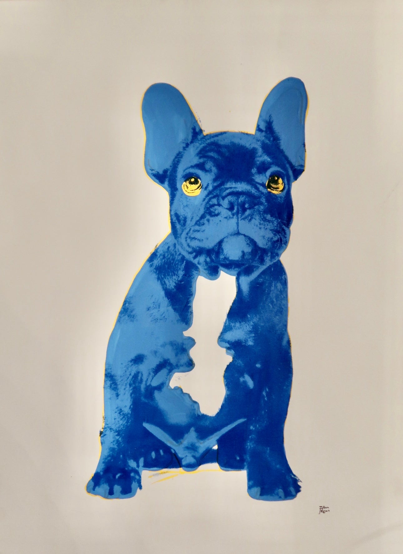 Blue Frenchie Silkscreen Print