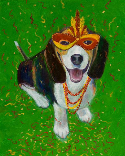 """Mardi Gras Mutts: Beagle"" Print"