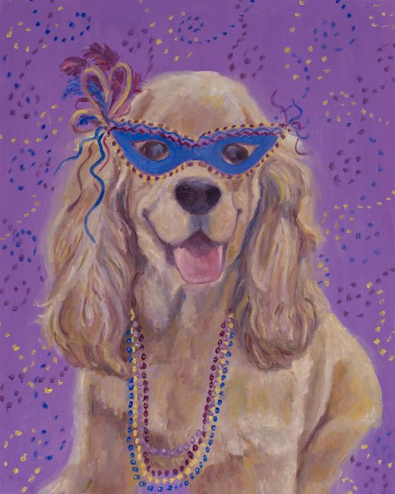"""Mardi Gras Mutts: Cocker Spaniel"" Print"