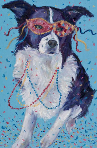 """Mardi Gras Mutts: Border Collie"" Print"