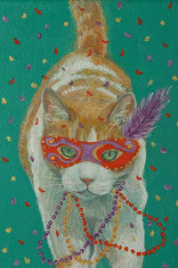 """Mardi Gras Cats: Orange and White"" Print"