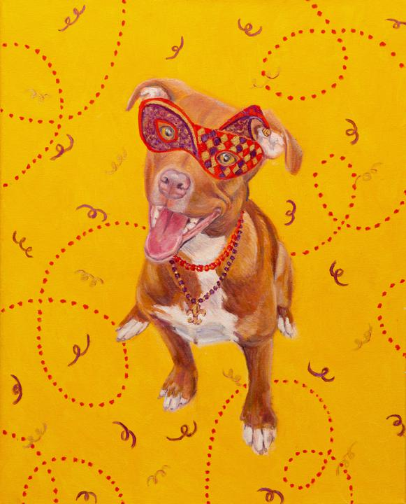 """Mardi Gras Mutts: Pitbull (Tan)"" Print"