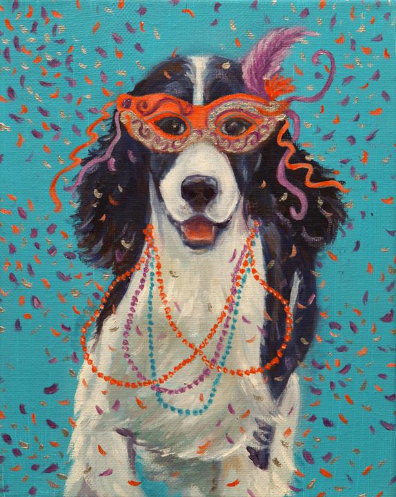 """Mardi Gras Mutts: Springer"" Print"