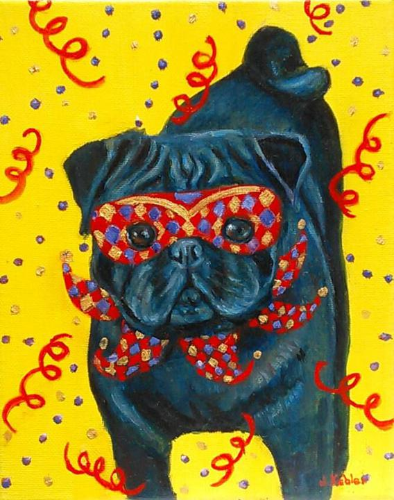 Mardi Gras Mutts: Black Pug
