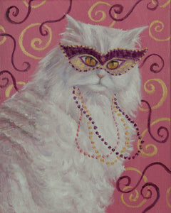 """Mardi Gras Cat: White Persian"" Print"