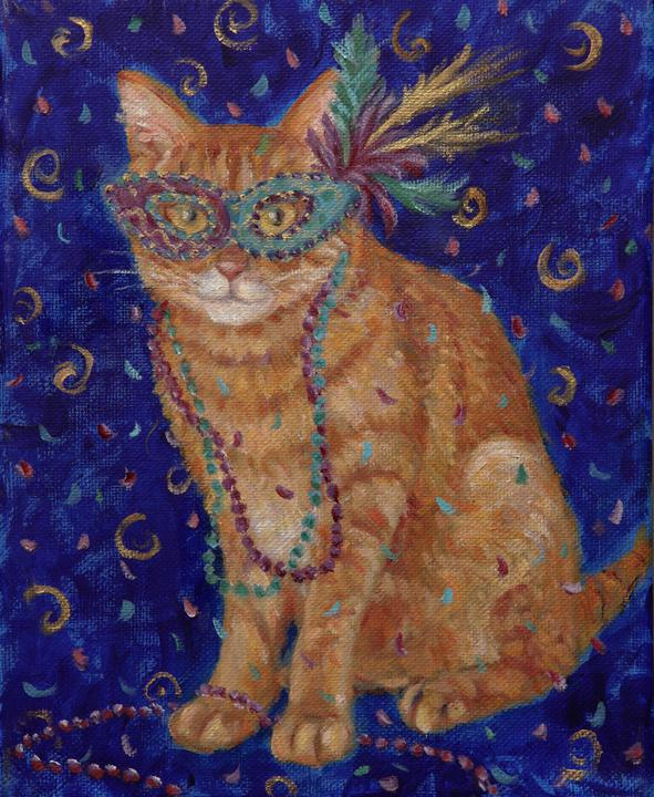 Mardi Gras Cats: Orange Tabby