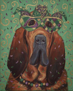 """Mardi Gras Mutts: Bloodhound"" Print"