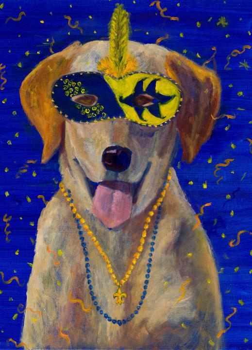 """Mardi Gras Mutts: Lab (Yellow)"" Print"