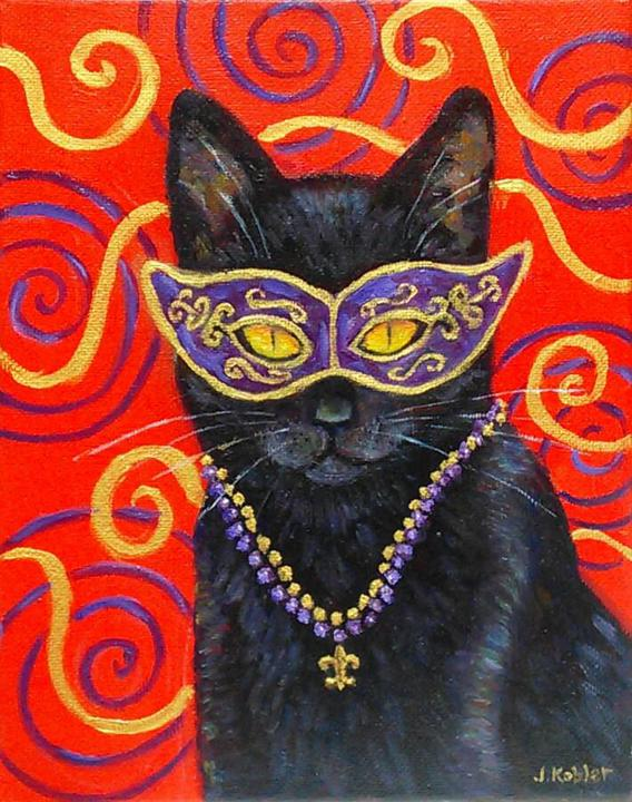 """Mardi Gras Cats: Black Cat"" Print"