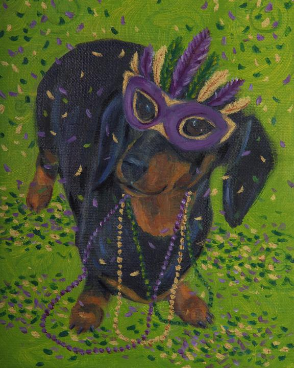 Mardi Gras Mutts: Black And Tan Doxie