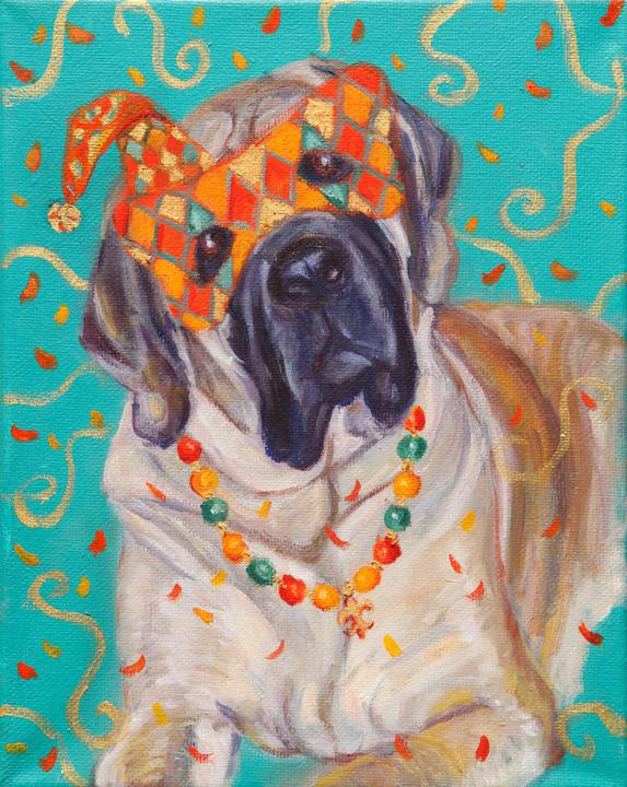 """Mardi Gras Mutts: Massiff"" Print"