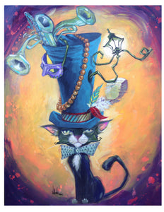 """NOLA Top Hat Cat"" Giclee Print by Mellissa Moore"