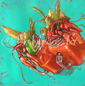 """Bloody Mary's with Crawfish"" Print by Mellissa Moore"