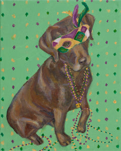 """Mardi Gras Mutts: Lab (Chocolate)"" Print"
