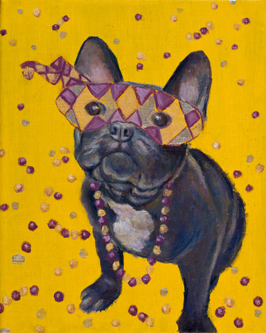 """Mardi Gras Mutts: Frenchie"" Print"