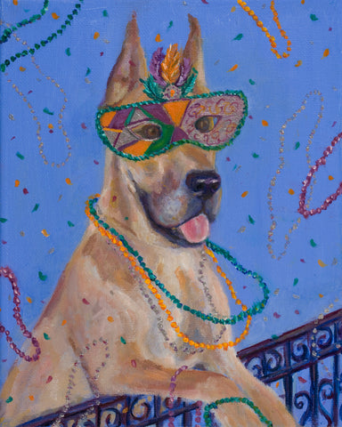 """Mardi Gras Mutts: Great Dane II"" Print"