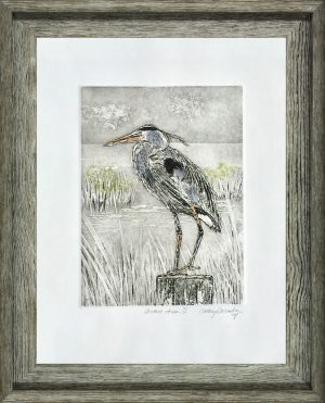 """Perched Heron II"" by Cathey December"