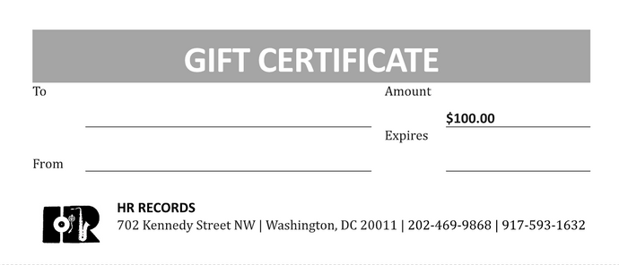 HR Records Gift Certificate (Multiple Amounts Available)