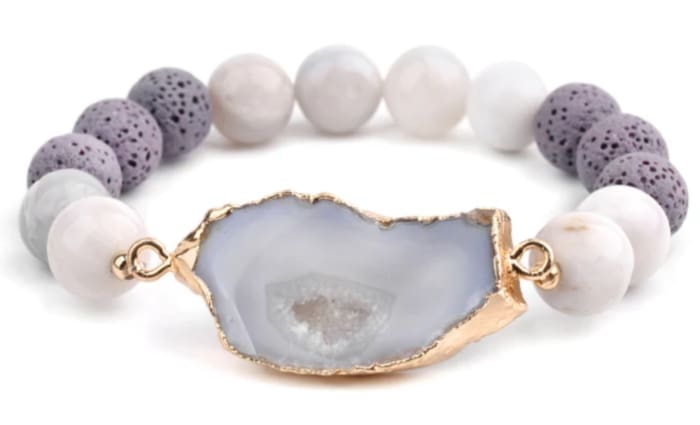 Crystal and Gold Lava Stone Essential Oil Bracelet - Crystal Lava Stone