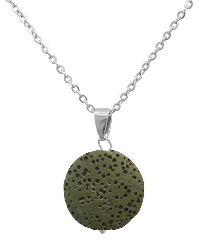 Green Lava Stone Essential Oil Necklace - Necklace