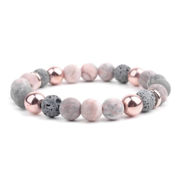 Lava Stone Essential Oil Bracelet - Agate Rose Gold