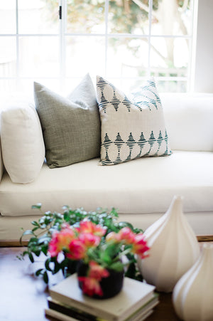 stacked pillows greige textiles hand drawn design hand printed in southern california greige design living room dana point california