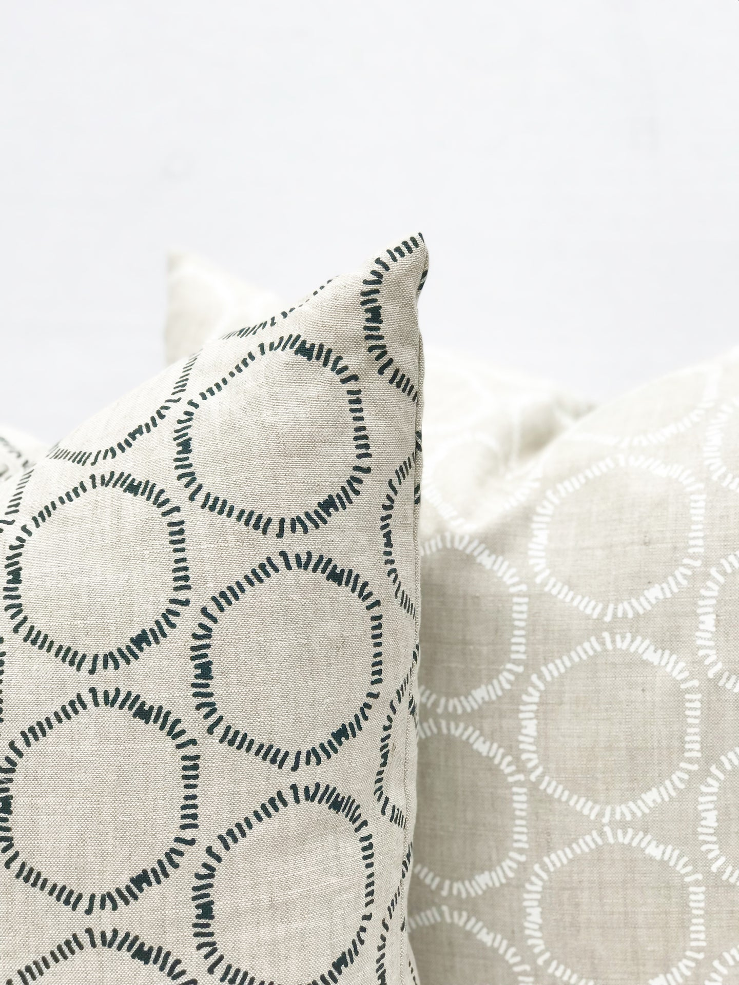 greige textiles hand printed in california on belgian linen, cape fabric in dublin on oatmeal and cape white on oatmeal