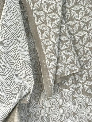 Cie Fabric White on Oatmeal greige textiles