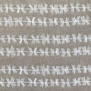 Stick Stripe Fabric White on Oatmeal greige textiles