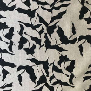 Mer Fabric Black on Natural greige textiles handprinted in california
