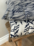 Trina Fabric Indigo on Natural greige textiles hand printed in california beauty of simple materials is celebrated