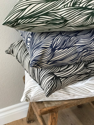 Trina Fabric Emerald on Natural greige textiles hand printed in california screen printing
